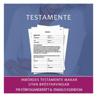 Mall dokumentmall av testamente för makar utan bröstarvingar med fri förfoganderätt och enskild egendom